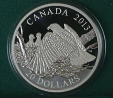 2013 Canada $20: Bald Eagle - Mother protecting eaglets 99.99% silver- coin only