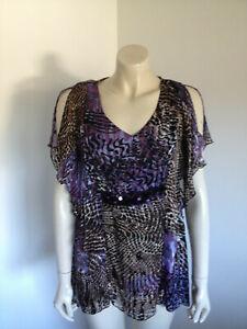 Purple Silk Blend Kimono Sleeve Semi Sheer Embellished Kaftan Size 10 ?