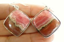 Pink Rhodochrosite 925 Sterling Silver Dangle Drop Earrings