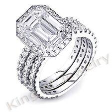 3.86 Ct. Emerald Cut Diamond Engagement Bridal Set w/ 2 wedding Bands H, VS1 14K