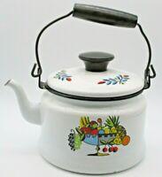 Berggren Rich Harvest Mid-Century Enamelware 1 Qt Tea Pot Orig. Lid VTG