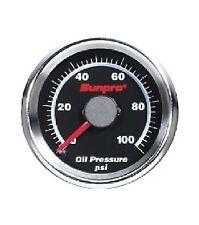 Sunpro 2 Mechanical Oil Pressure Gauge Black Chrome Bezel Cp7121