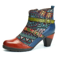 CHIC Women Bohemian Splicing Block Buckle Ankle Leather Boots Winter Shoes