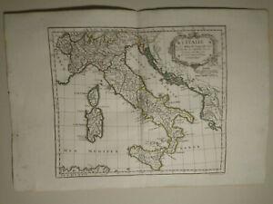 Italy Kingdom 1784 HAND COLORED MAP DE VAUGONDY