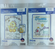 Janlynn Twinkle Little Star and Our Baby Counted Cross Stitch Kits Lot of 2