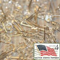 100x White 5mm Straw Hat LEDs Ultra Wide Angle Light Lamp USA