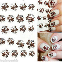 Nail Art Water Decals Wraps Black Brown Flowers Floral Gel Polish (1834)