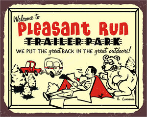 (VMA-L-6649) Pleasant Run Trailer Park Great Outdoors Vintage Retro Tin Sign