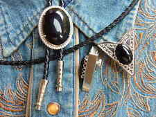 NEW BLACK ONYX BOLO BOOTLACE TIE & COLLAR TIPS SILVER METAL, LEATHER CORD