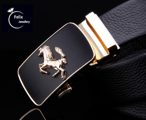 Mens Genuine Gold Horse Buckle Leather Belt Belts New Sliding Trouser Black UK