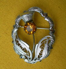 BROCHE celtique CHARDON D'IRLANDE filigrane cristal jaune  / THISTLE BROOCH
