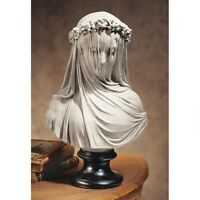Veiled Lady Bust 1850s Sculpture Madame Woman Statue Decor NEW