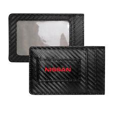 Nissan Name Red Slim Black Carbon Fiber RFID Block Card Holder Wallet