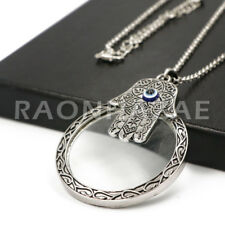 Hamsa 5X Magnifying Glass Pendant Necklace Long Chain S