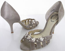 DEBUT SIZE 6 39 WOMENS BROWN SATIN SPARKLY PEEPTOES SANDALS COURT CUT OUT SHOES