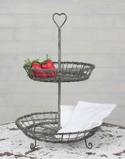Vintage Farmhouse Wire Heart Two Tier Serving Stand- Gray 460190