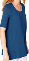 NEW J JILL S M XL Tall Pima Slub-knit S/S Dipped hem Tunic Top Teal Blue