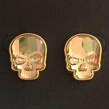 Crystal Skull Earrings Goldtone Crystal Purple Haze Finish Large