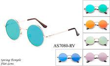 Classic Round John Lennon Sunglasses Flash Mirrored Flat Lenses Hippy 60's Retro