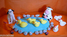 Farm Animals Edible sugar paste decoration cake cupcake topper birthday party