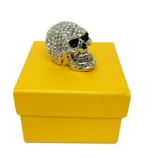 Skull Crystals Trinket Box Pewter Hinged Halloween Decor Skeleton Silver Toned