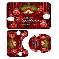 Set di 3 tappeti da bagno natalizi con coperchio antiscivolo per tappetino