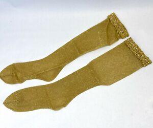 Vintage 70s Gold Metallic Mesh Over Calf Stockings NOS NEW Nylon Hose Fishnet