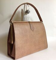 Vintage Handbag 1950s Large Camel Faux Lizard With Ivory Fabric Lining Kelly Bag