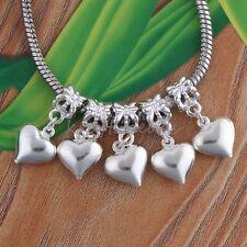 10x Silvery white Heart Shape Dangle European Beads Fit Charms Bracelet Finding
