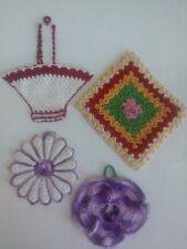 New listing Lot Of 4 Unused Vintage Handmade Crochet Colorful Pot Holders