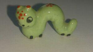 Vintage Josef Original papa worm caterpillar green red figurine miniature Japan