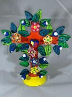 "Ortega Ceramic Tree w Flowers Handmade Mexican Folk Art Ortega Pottery 7"""