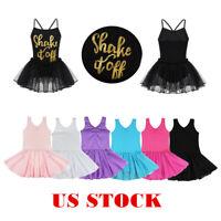 US Kids Girls Ballet Dance Dress Gymnastics Leotard Skirt Tutu Dancewear Costume