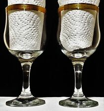 Set of 2 Clear Glass Stemmed Wine Glasses With Gold Band Rim EUC Free Shipping