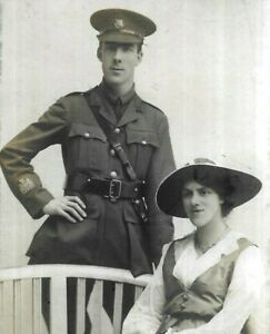WW1 Photo Postcard Handsome Royal Army Ordnance Corps Soldier Pretty Woman