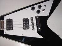 Black Flying V Electric Guitar in Hard Case