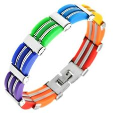 "New LGBT Gay Pride Rainbow Color Stainless Steel and Rubber Bracelet 7.5"" & 8"""