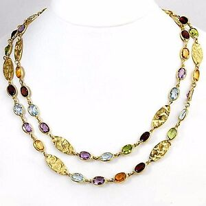 Designer 40.25ctw Amethyst,Citrine,Garnet,Peridot+ 18k Necklace