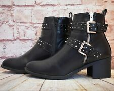 Womens Oasis Black Zip Up Mid Heel Ankle Boots Size UK 5 D EUR 38