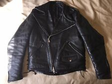 mens large vintage Apparel Annex black leather horsehide motorcycle jacket L