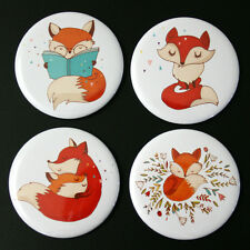Cute Foxes Fridge Magnet Set 55mm 4pc Gift Illustration Woodland Animals Reading