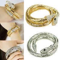 Vogue Punk Rhinestone Snake Curved Chunky Stretch Crystal Bangle Cuff Bracelet