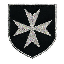 VEGASBEE® CROSS MALTESE CHRISTIAN SAINT JOHN KNIGHTS SILVER EMBROIDERED PATCH