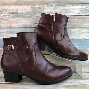 Cloudwalkers Womens Lynn Burgundy Ankle Boots Zip Up Block Heel Round Toe 13W