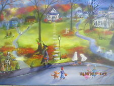 Folk Art Halloween Haunted Houses Moon Ghosts Fall Autumn Kids Lizzy Rainey
