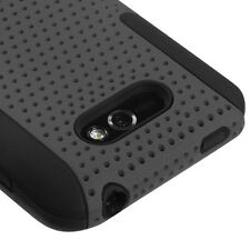 For LG Motion 4G MS770 MESH Hybrid Silicone Rubber Skin Case Phone Cover Grey