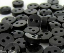 25 x 6mm Wide Tiny 'BLACK' Colour Dolls / Craft Buttons (B15)