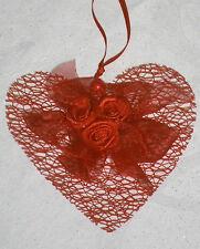 2 Stück Tischdeko Aufleger Hänger Herz in rot für Hochzeit