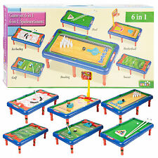 6 en 1 Juego Mesa De Billar Hockey Baloncesto Golf Interior Para Niños Juguete Regalo Set Top