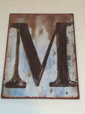 Rustic Metal Letters Signs Alphabet Letter M, New